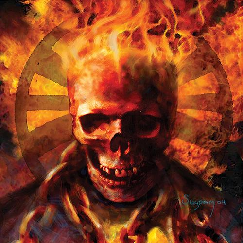 Calavera ardiendo de Arthur Suydam.