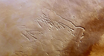Lava volcánica en Marte.